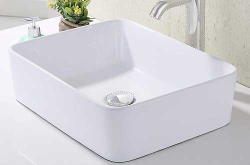 KES Bathroom Rectangular Porcelain Vessel Sink Above Counter White Countertop Bowl Sink