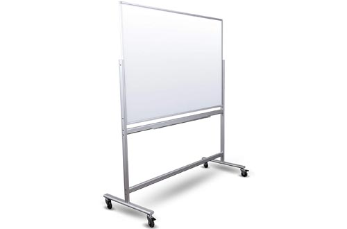 "Double Sided Mobile Magnetic Glass Marker Board (60"" x 40"")"