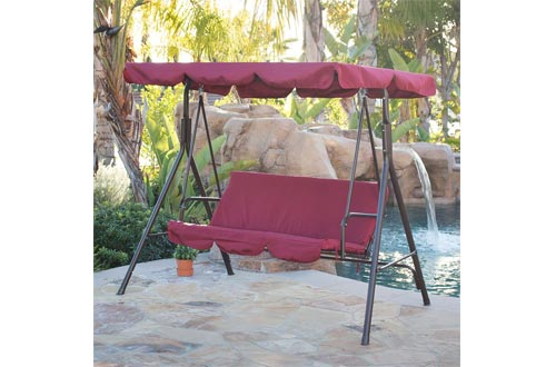 Belleze Porch Swing Soft Cushioned Sunlight Protection 3 Seat Polyester Fabric Bench Swing