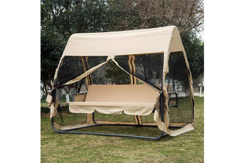 Outsunny 3 Seat Outdoor Covered Convertible Swing Chair Bed