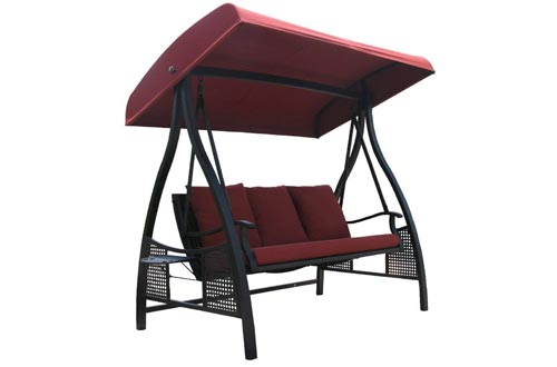 Abba Patio 3 Person Outdoor Metal Gazebo Padded Porch Swing
