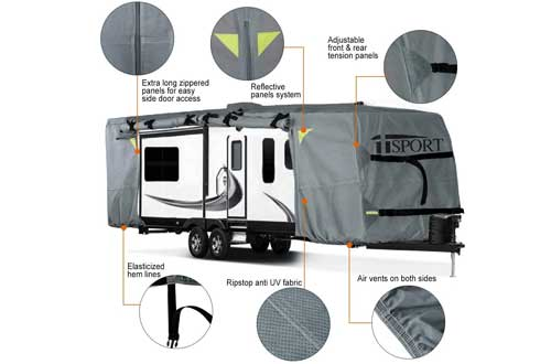 iiSPORT Extra Thick 4-Ply Top Panel Travel Trailer Cover