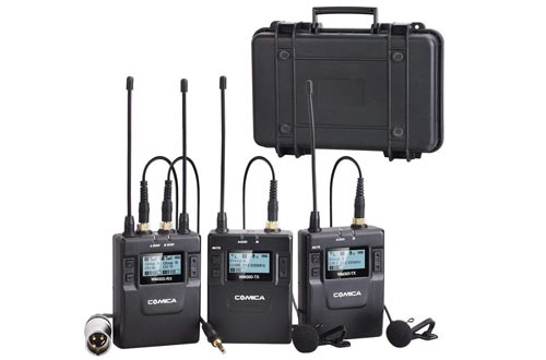 Comica CVM-WM300(A) 96-Channel Zinc Alloy UHF Rechargeable Wireless Dual Lavalier Microphone System