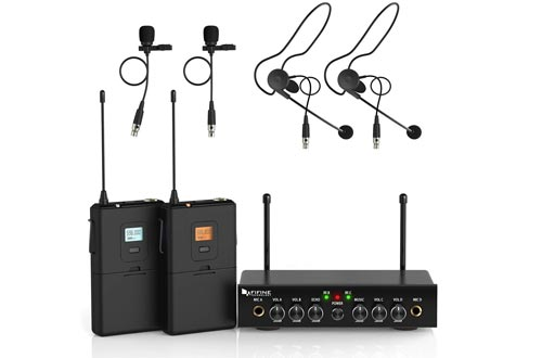 Wireless Microphone System,Fifine UHF Dual Channel Wireless Lavalier Microphones Set
