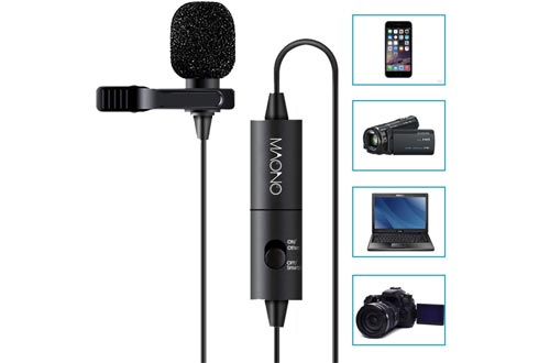 Lavalier Microphone, MAONO AU100 Hands Free Clip-on Lapel Mic