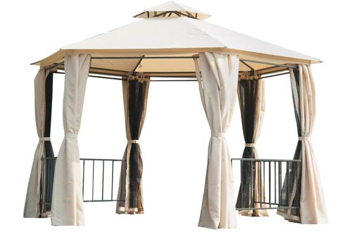 Outsunny Outdoor Two-Tiered Hexagonal Garden Gazebo Canopy