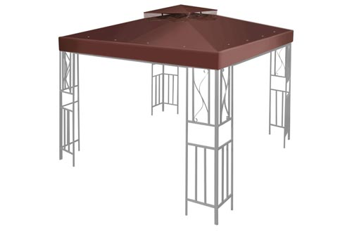 Flexzion 10' x 10' Gazebo Canopy Top Replacement Cover (Brown)