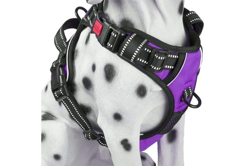 PoyPet No Pull Dog Harness, [2020 Upgrade Version] Reflective Vest Harness