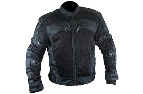 Xelement CF380 Mens Black Armored Mesh Jacket