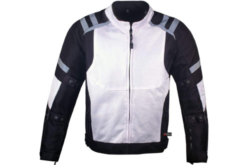 Mens Storm Mesh Summer Armored Reflective Waterproof White Motorcycle Jacket L