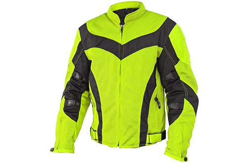 Xelement CF6019 Invasion Mens Neon Green Mesh Armored Motorcycle Jacket