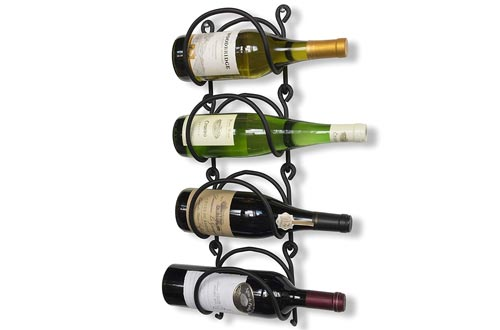 Wallniture Wrought Iron Curved Wall Mounted Wine Rack