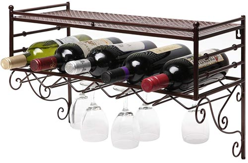 Wall Mounting Classical French Style Wine Bottle and Wine Glass Storage Organizer Rack