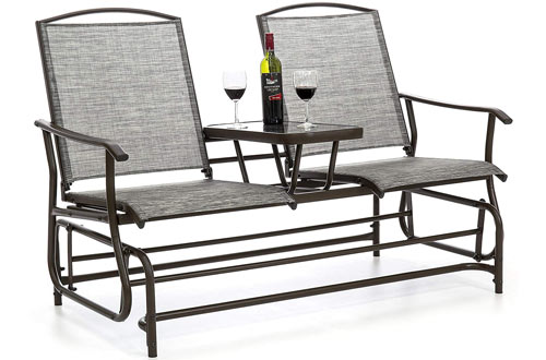 utdoor Mesh Fabric Patio Double Glider w/Tempered Glass Attached Table