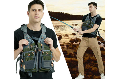 Mounteen Fly Fishing Vest Pack Adjustable Size for Men and Women