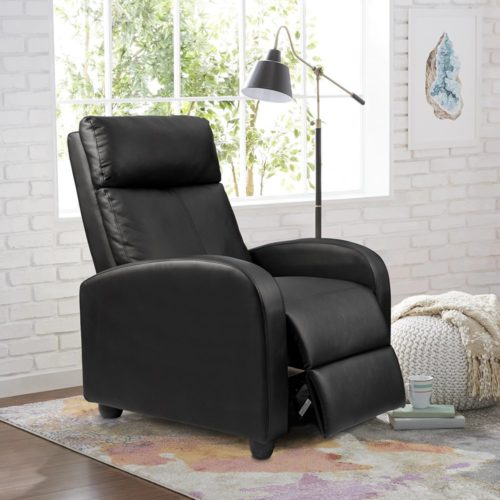 1. Homall Single Recliner Chair Padded Seat Black PU Leather Living Room Sofa Recliner Modern Recliner Seat Home Theater Seating (Black)