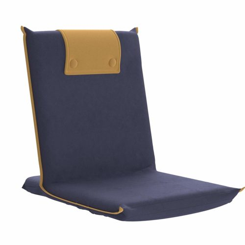 10. bonVIVO Easy III Padded Floor Chair with Integrated Handle, Foldable, for Meditation, Seminars, Reading, TV Watching Or Gaming, Suitable for Home Or Office, in Blue & Beige