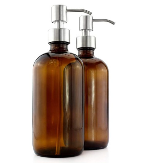 13. Cornucopia Brands 16-Ounce Amber Glass Bottles Stainless Steel Pumps (2-Pack); Lotion & Soap Dispenser Brown Boston Round Bottles for Aromatherapy, DIY, Home & Kitchen