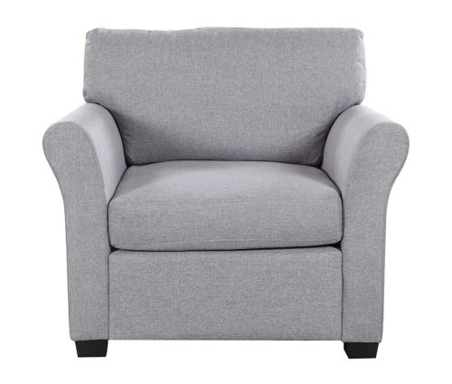 15. Classic and Traditional Linen Fabric Accent Chair - Living Room Armchair (Light Grey)