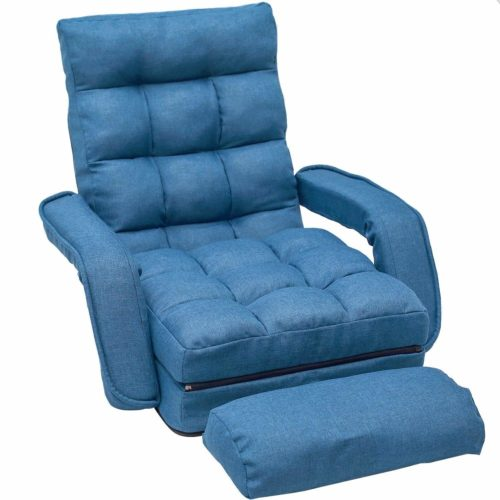 16. Merax Pil Sofa Lounger Bed with Armrests and a Pillow, (Blue)
