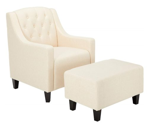 17. Christopher Knight Home 217723 Empierre Beige Linen Club Chair & Footstool Set