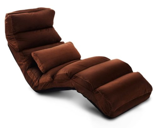 18. E-More Home Adjustable Folding Lazy Floor Sofa Chair Stylish Couch Beds Lounge Chair with Pillow, Coffee