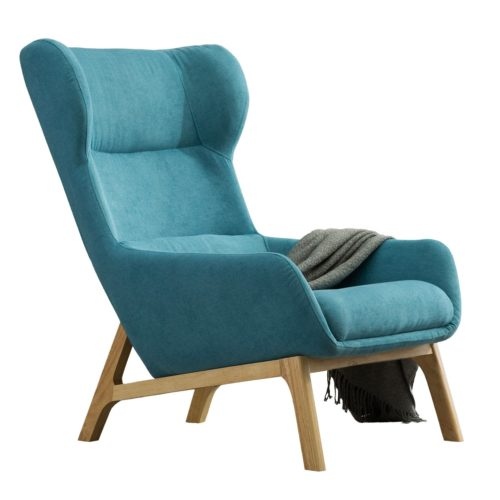 19. Irene House Contemporary Velvet Fabric Height Back Accent Chair,Living Room,Bedroom Arm Chair (Blue)