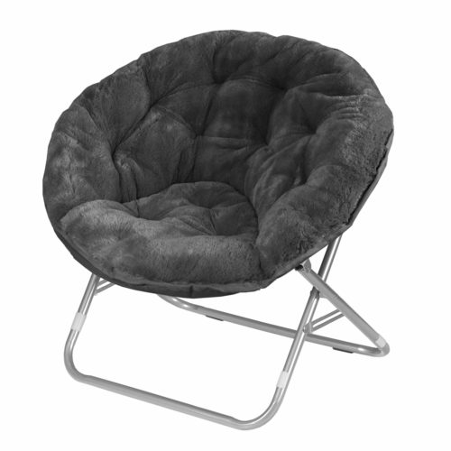 3. Urban Shop Faux Fur Saucer Chair with Metal Frame, One Size, Black