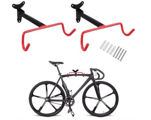 5. PHUNAYA Bike Hanger 2pcs Wall Mount Bike Hook Horizontal Foldable Bicycle Holder Garage Bike Storage Bicycle Hoist Heavy Duty Screws