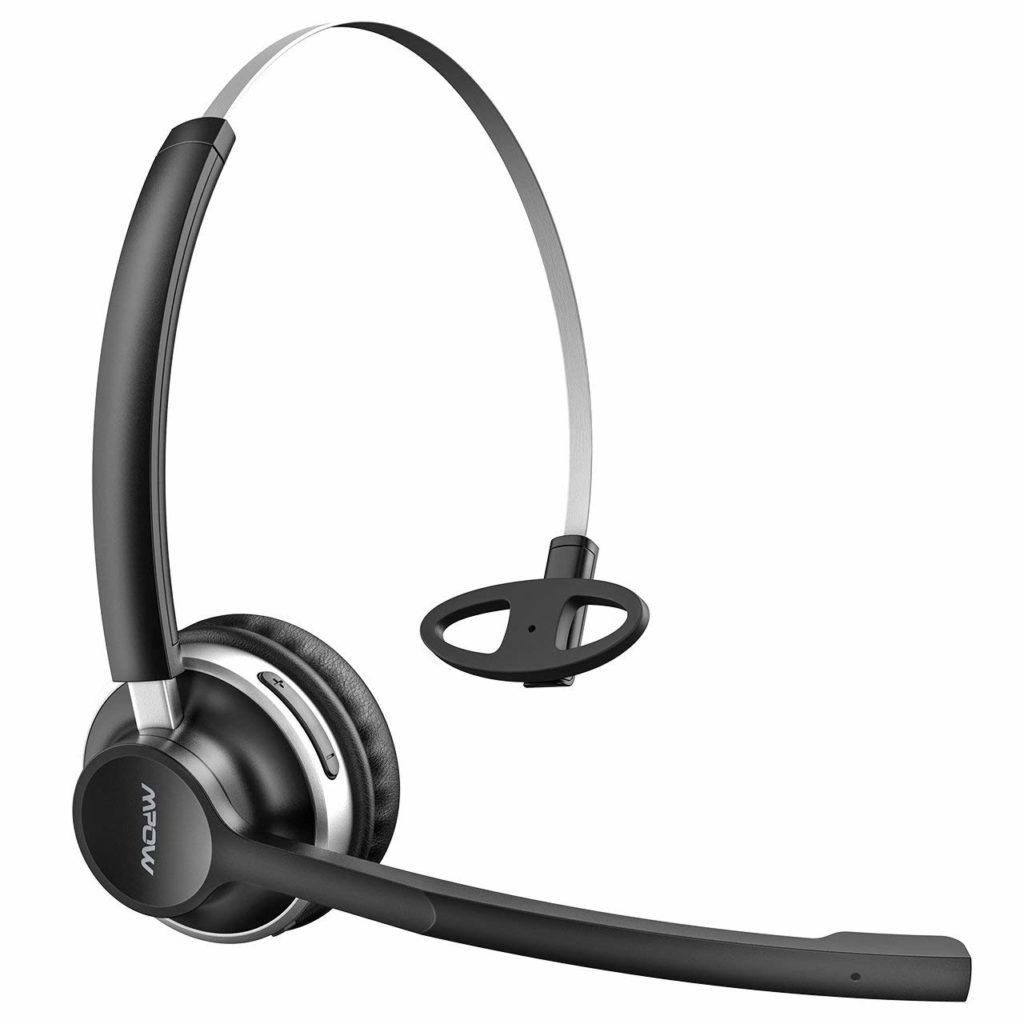 7. Mpow HC3 Bluetooth Headphones, Dual-Mic Noise Reduction, 13Hr Playtime Trucker Bluetooth Headset w,Wired Mode, Cell Phone Headset