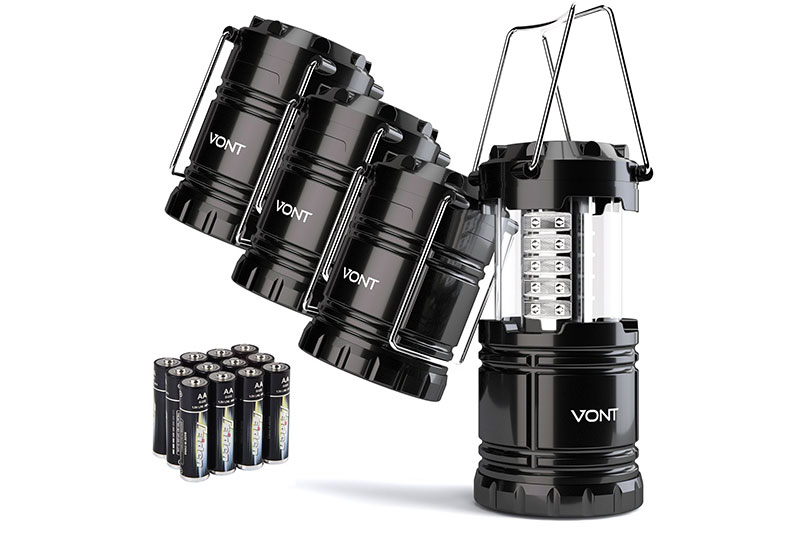Vont 4 Pack LED Camping Lantern, Survival Kit for Hurricane