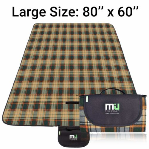 11. MIU COLOR Large Waterproof Outdoor Picnic Blanket, Sandproof and Waterproof Picnic Blanket Tote for Camping Hiking Grass Travelling