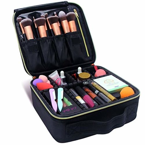 11. MONSTINA Makeup Train Cases Professional Travel Makeup Bag Cosmetic Cases Organizer Portable Storage Bag for Cosmetics Makeup