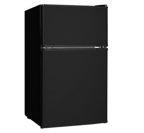 12. Midea WHD-113FB1 Double Door Mini Fridge with Freezer for Bedroom Office or Dorm with Adjustable Remove Glass Shelves Compact Refrigerator