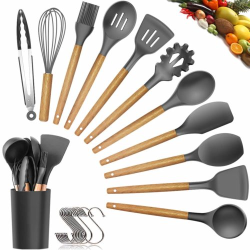 12. Silicone Cooking Utensils Kitchen Utensil Set - 11 Pieces Natural Wooden Handles Cooking Tools Turner Tongs Spatula Spoon for Nonstick Cookware