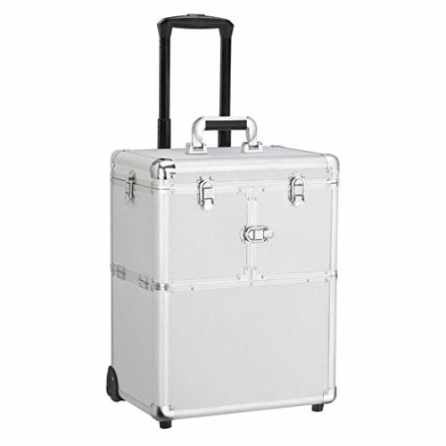 12. Yaheetech Professional Rolling Makeup Case - Cosmetic Train Case Loakable Beauty Trolley Large Train Case