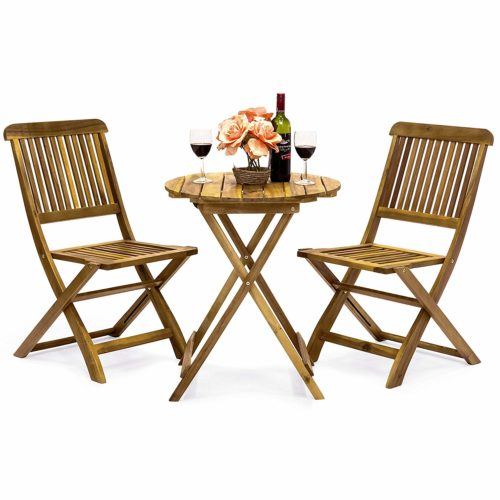 14. Best Choice Products 3-Piece Folding Acacia Wood Patio Bistro Set
