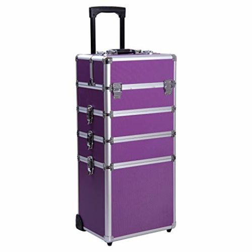 14. Ollieroo 4 in 1 Aluminum Rolling Cosmetic Makeup Train Cases Trolley Professional Artist Train Case Organizer Box Lift Handle Lock