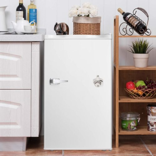 15. Compact Refrigerator with Handle MIni Fridge Chiller and Freezer Compartment with Removable Glass Shelves Small Drink Food Storage Machine for Office, Dorm, Apartment
