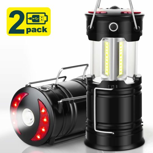 15. EZORKAS 2 Pack Camping Lanterns, Rechargeable Led Lanterns, Hurricane Lights with Flashlight and Magnet Base for Camping