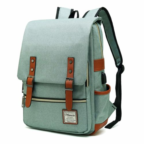15. MANCIO Slim Laptop Backpack with USB Charging Port,Vintage Tear Resistant Business Bag for Travel, College, School