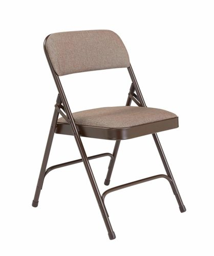15. National Public Seating 2200 Series Steel Frame Upholstered Premium Fabric Seat and Back Folding Chair with Double Brace, 480 lbs Capacity, Russet