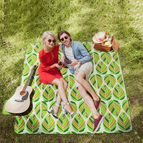 15. Picnic Blanket Extra Large Fleece Outdoor Blanket with Waterproof Backing Portable