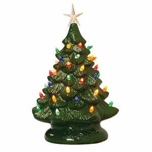 1. Miles Kimball 14-inches Retro Prelit Ceramic Christmas tree